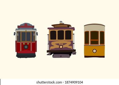 Set of retro tram. Vintage car detailed urban transport. Electric vehicles in the city. Transport collection, perfect for a travel card or leaflet design. Perfect for transport infographics, travel