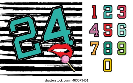 Set of retro university sports team style numbers, ideal for clothes embroidery patch or stickers. EPS10 vector.