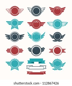 Set of retro vintage badge icons for logo, labels, packaging, web and print