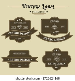 Set of retro vintage badge logo design. Vector design element, with rectangle shape, business sign, logos, identity, labels, badges and object, vector eps 10.