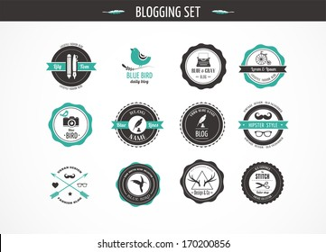 Set of retro vintage badges and labels - blog elements