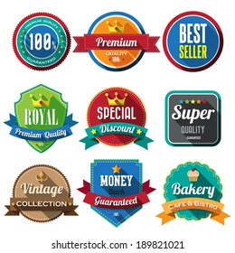 Set of retro vintage badges and labels 05. Flat design with long shadow .eps10