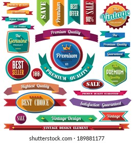Set of retro vintage badges and labels 07. Flat design with long shadow .eps10