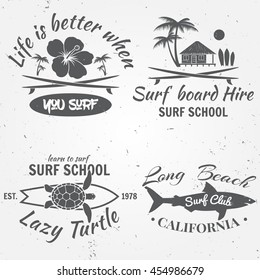 Set of retro vintage badges and labels. For web design, mobile and application interface, also useful for infographics. Surf club design. Vector illustration.