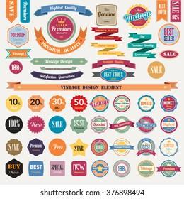 Set of retro vintage badges and labels.Illustrator eps10