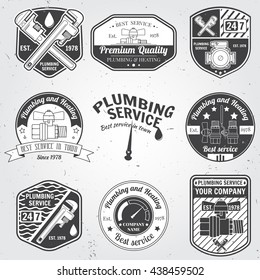 Set of retro vintage badges, seal, patch, logo and labels. Plumbing and heating service. Emergency service logo. Vector illustration. Elements on the theme of the plumbing service business.