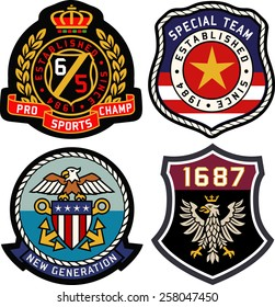 Set of retro vintage badges shielding