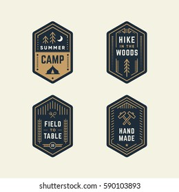 Set of retro vintage banner shape logo badges