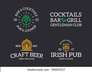 Set of retro vintage beer and alcohol, hop, barrel logo or insignia, emblems, labels and badges and other branding objects. Vector line style