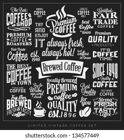 Set of Retro Vintage Coffee Labels with Calligraphic and Typographic Elements
