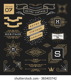 Set of retro vintage graphic design elements. Sign, frame labels, ribbons, logos symbols, crowns, corner, flourishes line and ornaments. Vector illustration
