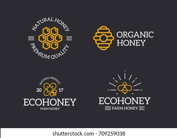 Set of retro vintage honey and bee, honeycomb, hive logo or insignia, emblems, labels and badges and other branding objects. Vector line style