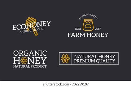 Set of retro vintage honey and bee, honeycomb, dipper logo or insignia, emblems, labels and badges and other branding objects. Vector line style