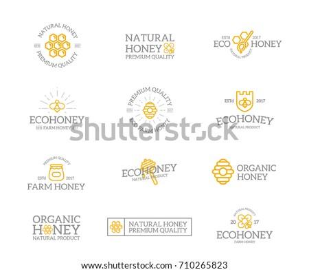Set Retro Vintage Honey Bee Logo Stock Vector Royalty Free