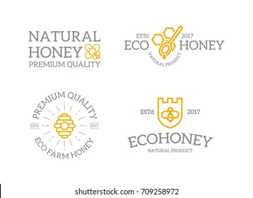 Set of retro vintage honey and shield with a bee, honeycomb, hive logo or insignia, emblems, labels and badges and other branding objects. Vector line style