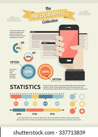Set of Retro Vintage Infographic Elements for Your Documents and Reports
