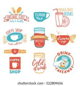 Set retro vintage logos for coffee shop, tea bar. Logo with juice, smoothies and a cup of tea. Symbol, label, badge for store with drinks. Silhouettes of utensils for the cafe, bistro. Vector.