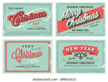 Set of Retro Vintage Merry Christmas and Happy New Year Background for Greeting Card, Poster, Label and Other Decoration with Typographic Elements