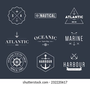 Set of retro vintage nautical labels and badges logo templates. Hipster style design, brand, branding, logotype, company, corporate, identity, sail, sailing Clean and modern, vector eps 10