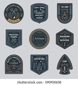 Set of retro vintage outdoor camp logo badges