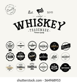 Set of Retro Vintage Premium  Whiskey Alcohol labels and badges