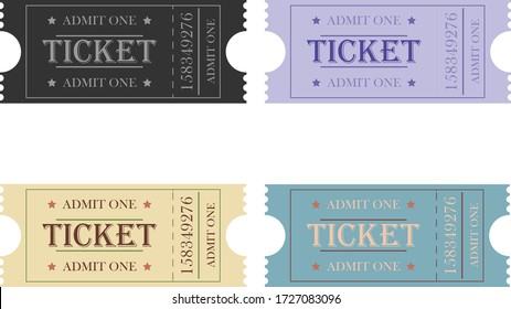 Set of retro vintage ticket templates.Template for movie entrance tickets and other events such as circus, movie theater, parties and concerts.  Vector illustration isolated on white background