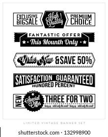 Set of Retro Vintage Typographic Business Banner Design Set for Web or Print