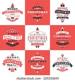 Set of Retro Vintage Typographic Merry Christmas and Happy New Year Badges. Vector Illustration. Red, Black and White Colors
