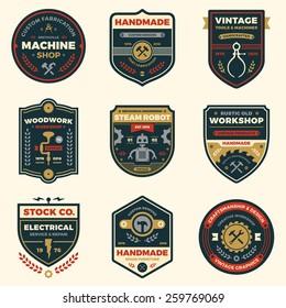 Set of retro vintage workshop badges and logo label graphics