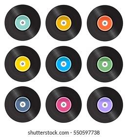 Set of retro vinyl gramophone record isolated on white background.