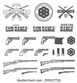 Set of retro weapons labels, emblems and design elements