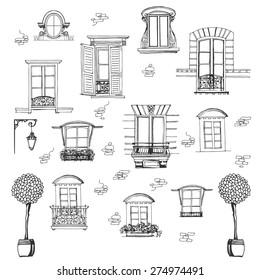 Set of retro windows isolated on white background. Hand drawing illustration