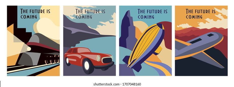 Set of Retrofuturism poster designs depicting a train, car, hot air balloon and airplane with text - The Future Is Coming, vector illustration