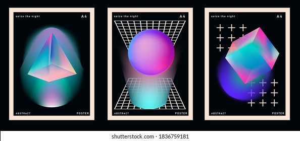 Set of retrofuturistic posters with glowing neon shapes: prism, pyramid, cube. Synthwave and retrowave style backgounds.
