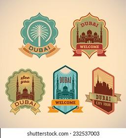 Set of retro-styled Dubai city tour labels. Editable vector illustration.