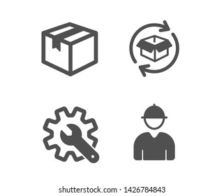 Set of Return parcel, Customisation and Parcel icons. Engineer sign. Exchange of goods, Settings, Shipping box. Worker profile.  Classic design return parcel icon. Flat design. Vector