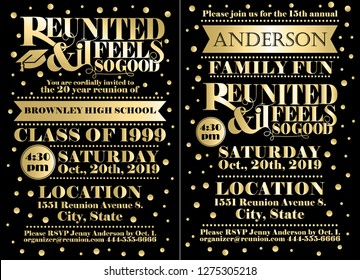 Set of reunion announcement or invitation templates for family or class reunions.