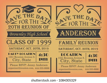 Set of reunion designs for school and family reunion