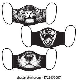 Set of reusable masks with dogs and tiger mouth print on black background vector illustration