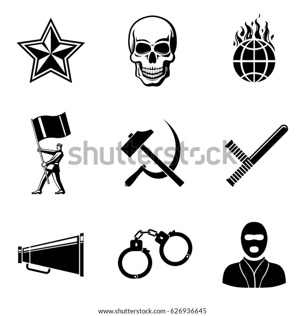 Set of revolution icons - communist star, skull, world on fire, protest man, hammer and sickle, club, mouthpiece, handcuffs, protest man in mask. Vector