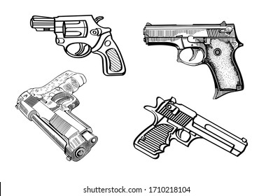 Set of Revolver icon vector illustration. Shooting gun sketches isolated on white background. Military weapon concept.