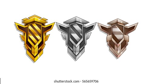 Set of Rewards icon for game interface. Cartoon achievement decoration for game: gold, silver, bronze. Vector illustration on white backgrounds.