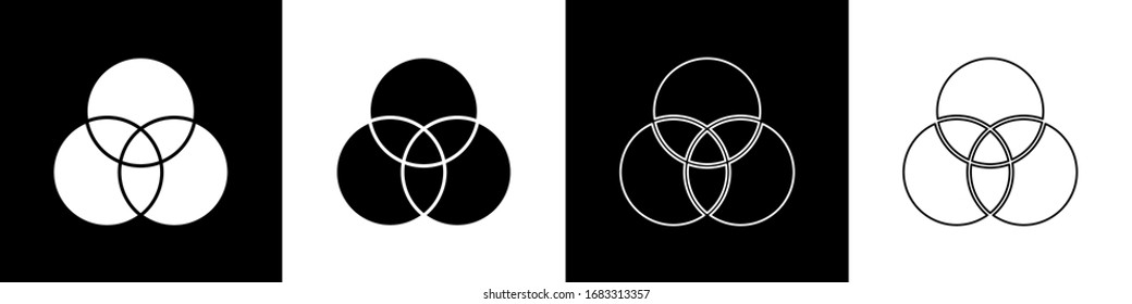 Set RGB and CMYK color mixing icon isolated on black and white background.  Vector Illustration