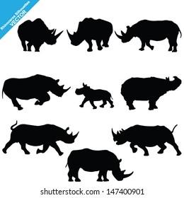 Set of Rhinoceros Silhouettes. Vector Illustration