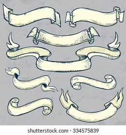 Set of ribbon banners