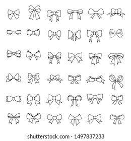 set of Ribbon Bow Vector Icon ,outline design style,Gift birthday xmas or sale decor collection of simple outline signs. Fashion