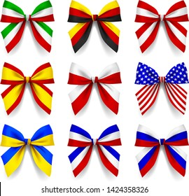 Set of ribbon bows in the colors of the national flags of different countries isolated on white. Vector illustration