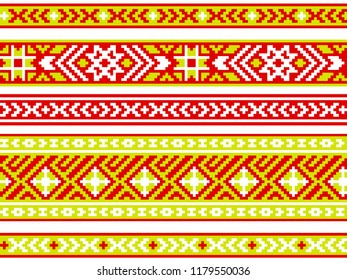 Set of ribbons with Baltic seamless ornament. Modern popular print. Vector image.
