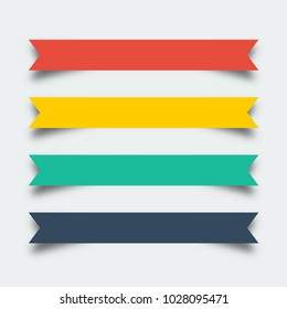 Set of ribbons banners in flat design with shadow. Ribbon icon. Ribbon banner icons. Ribbon. Ribbons vector icon