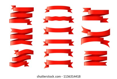 Set of ribbons, banners or gift wrapping tape isolated on background